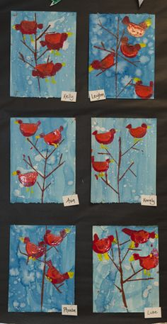 print making: winter cardinals