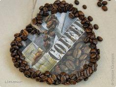 """Панно """"Кофе и сливки""""или """"Инь янь в чашке"""". Полимерная глина, зерна кофе, шпагат, одношаговый кракелюр. фото 7"""
