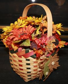 basket with fall flowers