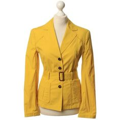 Pre-owned Blazer in yellow ($180) ❤ liked on Polyvore featuring outerwear, jackets, blazers, yellow, yellow blazer, yellow jacket, real leather jackets, lapel jacket and patch jacket