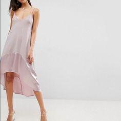 Asos Pink Midi Trapeze Cami Dress Satin Hem