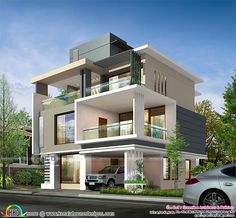 3719 square feet 3 storied ultra modern home (Kerala home design and floor plans) Modern Exterior House Designs, Best Modern House Design, Modern Bungalow Exterior, Modern House Facades, Modern Bungalow House, Home Design, Villa Design, Modern Buildings, Exterior Design
