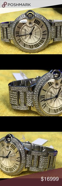 Cartier blue ballon men's watch  custom diamonds Custom genuine diamonds watch encrusted with diamonds bezel and half sides of links. As u can see in pic. Cartier blue ballon.  Will be difficult to find this beautifully custom diamonds watch. Cartier Accessories Watches