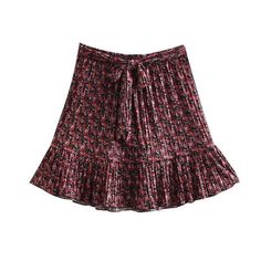 Vintage Chic Floral Print Pleated Mini Skirt Women 2019 Fashion A Line Bow Tie Sashes Ruffle Ladies Skirts Casual Faldas Mujer Fashion Advice, Fashion News, Fashion Outfits, Pleated Mini Skirt, Mini Skirts, Ditsy Floral, Casual Skirts, Dress Up, Clothes For Women