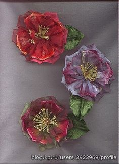 Flowers of the tapes. Talk to LiveInternet - Russian Service Online Diaries Craft Flowers, Flower Crafts, Crewel Embroidery, Ribbon Embroidery, Online Diary, Flower Designs, Diaries, Fabric, Ideas