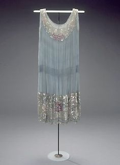 "Dress (""La garconne""): ca. 1920's, crepe de chine, embroidery, sequins and beading."