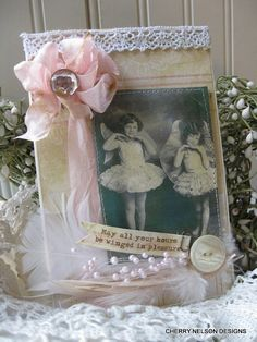 shabby birthday card-SEPIA little girls and WINGS-may all your hours be winged in pleasure handmade birthday card
