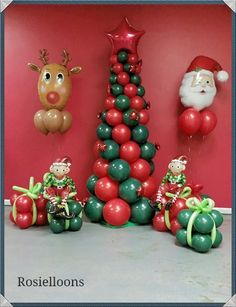 Tree, Rudolph and elves, all made from balloons. Christmas Party Backdrop, Christmas Balloons, Christmas Party Decorations, Christmas Crafts, Christmas Themes, Balloon Crafts, Birthday Balloon Decorations, Birthday Balloons, Balloon Arrangements