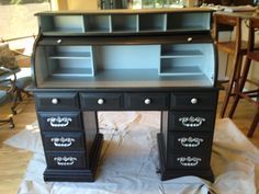 Thrift store roll top desk my daughter Micaela  and I painted for her new apartment!