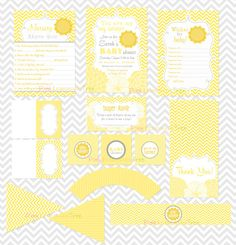 You Are My Sunshine Baby Shower Set, Thank You Card, Wishes for Baby, Diaper Raffle Tickets, Nursery Rhyme Quiz, Cupcake Toppers, and more
