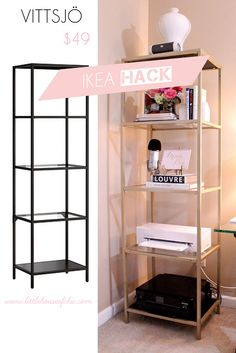 I know I am in good company when I say, I love Ikea! I love the modern style of their furniture, I love the price range, I love the experience of walking through an Ikea store. Ikea Furniture Hacks, Furniture Makeover, Ikea Hacks, Ikea Hack Vittsjo, Ikea Shelf Hack, Ikea Shelves, House Of Chic, Diy Home Decor, Room Decor