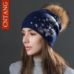 9a344eed4aa2c Cntang Brand Women Knitted Print Butterfly Hats Winter Double Layer Wool  Caps With Real Raccoon Pompoms Fur Beanies Fashion Ladies Hat