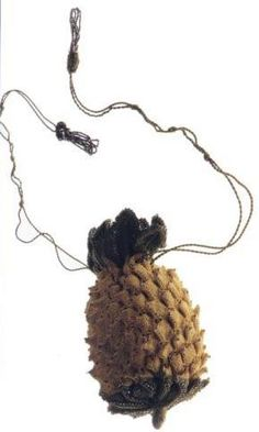 """A small bag, called """"reticule"""" made of Yellow and green silk knit; pineapple shape with trimming of silver beads and tassels. Historical Costume, Historical Clothing, Antique Clothing, Antique Jewelry, Regency Dress, Regency Era, Mean Women, 1800s Fashion, Digital Archives"""