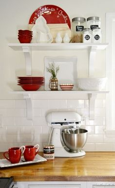 Backsplash, butcher block counters, open shelving, white {Beneath My Heart's Christmas Tour} Christmas Kitchen, Christmas Home, Christmas Colors, All Things Christmas, Home Decor Kitchen, Home Kitchens, Shaker Kitchen Cabinets, Kitchen Shelves, White Cabinets