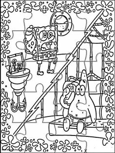 Printable jigsaw puzzles to cut out for kids SpongeBob 3