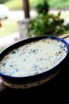 Cheesy, gooey Spinach Artichoke Dip! Love.