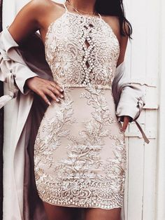 Sexy Spaghetti Strap Embroided Backless Cocktail Bodycon Dress, A-Line Spaghetti Straps V-Neck Dusty Pink Homecoming Dresses,Party dresses Hoco Dresses, Pretty Dresses, Sexy Dresses, Beautiful Dresses, Elegant Dresses, Dress Prom, Mini Dresses, Summer Dresses, Champagne Homecoming Dresses