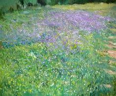 Flores violétas en primavera.  Óleo sobre lienzo.61x50 cms  Más detalles: http://www.rubendeluis.com