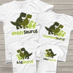 Dinosaur daddy mommy kid baby saurus matching FOUR shirt gift set Zoey's Attic Personalized Gifts, is your number one source for personalized gifts. We specialize in custom T shirts and gifts for the whole famiy! Dinosaur Birthday Party, Boy First Birthday, 3rd Birthday Parties, Birthday Ideas, 4th Birthday, Festa Jurassic Park, Dinosaur Shirt, Dinosaur Gifts, Baby Dinosaurs