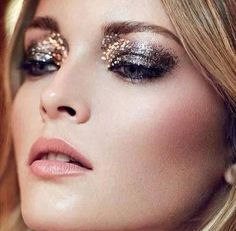 Metallics/smudged/grunge/sequin eye makeup