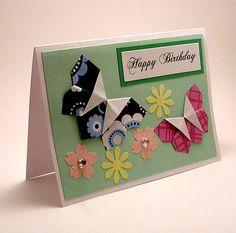 Origami Butterfly Birthday Card | by kittykatkards