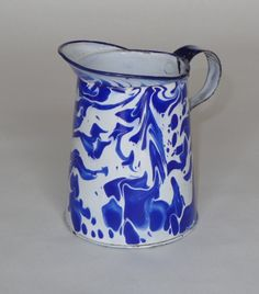 Spectacular Cobalt Blue White Large Swirl Graniteware Small Liquid Measure | eBay