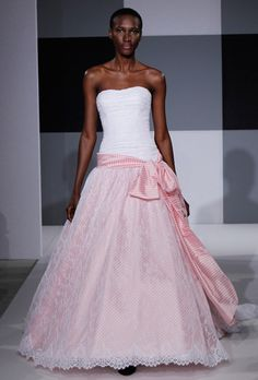 Brides.com: . Pink Wedding Dress: Isaac Mizrahi. Innocent, $3,600, Isaac Mizrahi for Kleinfeld  See more Isaac Mizrahi for Kleinfeld wedding dresses