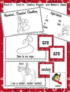Rootin', Tootin' Cowboy Emergent Reader, Memory Game, and Practice Sheets Printables Reading Practice, Struggling Readers, Emergent Readers, Reading Fluency, Memory Games, Reading Resources, Vocabulary Words, Sight Words, News Blog