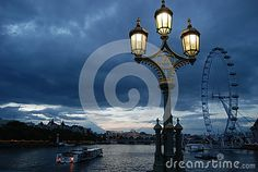 A London night landscape with gaslamp