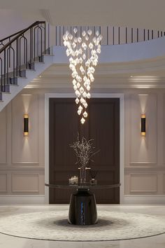 Elegant Chandeliers, Luxury Chandelier, Luxury Lighting, Entrance Hall Decor, Entrance Lighting, Staircase Lighting Ideas, Staircase Design, Home Room Design, House Design