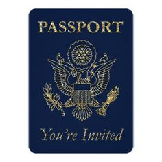 Passport Travel Theme Party Invite Navy Gold