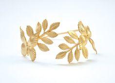 Butterflies & Leaves bracelet Wrap Gold Bracelet by avigailadam1, $50.00
