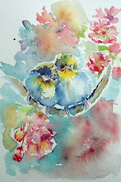 ARTFINDER: Little birds by Kovács Anna Brigitta - Original watercolour painting on high quality watercolour paper. I love landscapes, still life, nature and wildlife, lights and shadows, colorful sight. Thes...