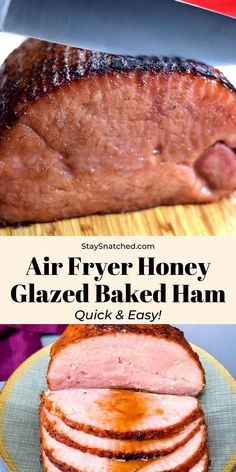Air Fryer Honey Glazed Baked Ham is a quick and easy recipe that will show you how to make boneless or bone-in ham in the air fryer. You can even whip up country ham steaks. Serve these juicy slices for weeknight dinners or during the holidays and for Thanksgiving. Easy Healthy Dinners, Healthy Breakfast Recipes, Clean Eating Recipes, Quick Easy Meals, Healthy Dinner Recipes, Vegetarian Recipes, Air Fryer Dinner Recipes, Air Fryer Recipes Easy, Chicken Breast Recipes Healthy