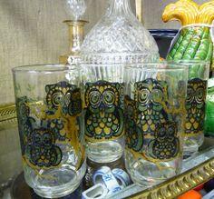 Set of Four Vintage Owl Glasses