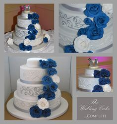 (my design) My first wedding cake - silver and blue theme, double chocolate sponge + a crazy amount of chocolate ganache. Royal icing piping with painted lustre dust over the top. Hand made roses (sugar florist paste) with shiny lustre dust sprinkles.