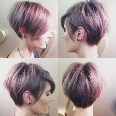 Long pixie haircut into highlight hair coloring. Dark hair type as regards long pixie haircut. Long Pixie Cuts, Short Hair Cuts, Short Hair Styles, Short Pixie, Pixie Bob, Asymmetrical Pixie, Shaggy Pixie, Pixie Hairstyles, Pretty Hairstyles