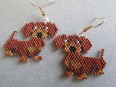 Dachshund Earrings in Delica seed beads