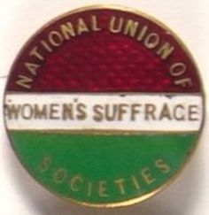 """National Union of Womens's Suffrage Society's enamel badge:founded 1897 joined w Millicent Fawcett describing the movement""""like a glacier, slow moving but unstoppable"""" !!!!"""