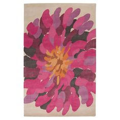 Bring stately style to your living room or master suite with this hand-tufted New Zealand wool rug, showcasing a floral motif in raspberry. ...