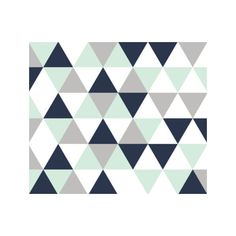 Ivie Wholecloth Triangles Coral Pink Aqua Mint Green Grey and Navy... (64 CAD) ❤ liked on Polyvore featuring home, children's room, children's furniture, nursery furniture, bedding, home & living and silver