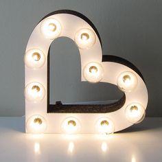 Heart Marquee Light Sign - Vintage Inspired Laser Cut, White Cardboard Wedding Decor