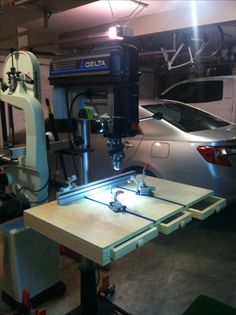 """New custom drill press table completed. 36"""" wide by 22"""" deep by 3"""" high. Universal T tracks installed along with sliding Bessey toggle clamps and biesemeyer fence."""