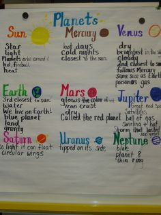 Characteristics of each of the planets Kindergarten Science, Elementary Science, Science Classroom, Teaching Science, Science Activities, Science Projects, Preschool, Teaching Aids, School Projects