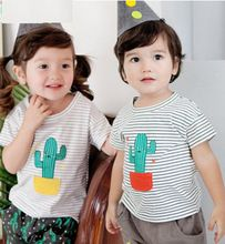 Brand Summer Style Baby Boys Girls Funny Cactus T-shirt+ Shorts Casual Suit Kawaii Outfits for Children Hipster Kids Clothing(China (Mainland))