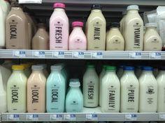 Shatto milk rainbow. Chocolate, strawberry, coffee, root beer, orange cream, banana, cotton candy and milk flavored milk. : )
