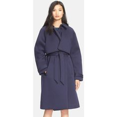 Tracy Reese Neoprene TrenchCoat ($498) ❤ liked on Polyvore featuring outerwear, coats, long sleeve coat, belted coat, belted trench coat, tracy reese coat and oversized trench coat