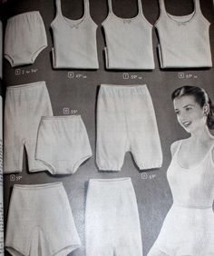 "1940s Lingerie  Bra, Girdle, Slips, Underwear History. Simple cotton knit panties and tops for ""working women""   #1940sfashion #lingerie #vintage"