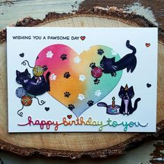 Lawn Fawn, Cats, Cardmaking, Cards, Birthday Card