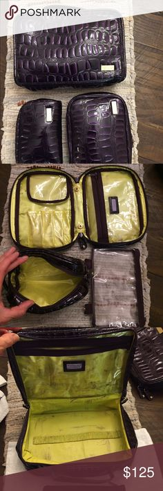 "Stephanie Johnson REAL Patent Leather Case Trio These are really luxe! She doesn't use leather anymore. Staining shown is from storing them inside the big one. ALL are crocodile-embossed patent LEATHER with PVC lining.   Jenny Train Case: Has a separate clear pouch with mirror. Body length 10""; Height 3""; Width 6½""  Gidget Square Cosmetic Brush Case  * Four interior brush pockets; detachable zipper pouch; clear zip pocket * Body length 8"", Height 2""; Width 5½""  Marlow mini makeup case: Body…"